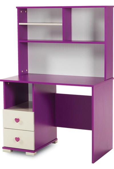 Tocco Violet 2 Çekmeceli Kitaplıklı Çalışma Masası