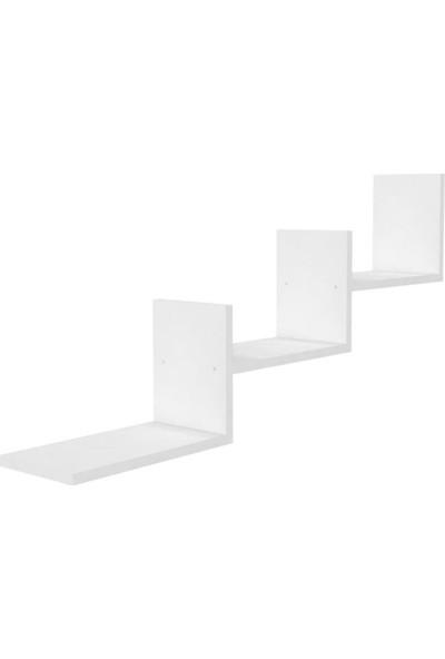 Mimilos R4 3 Üç Bölmeli Dekoratif Merdiven Duvar Rafı Beyaz