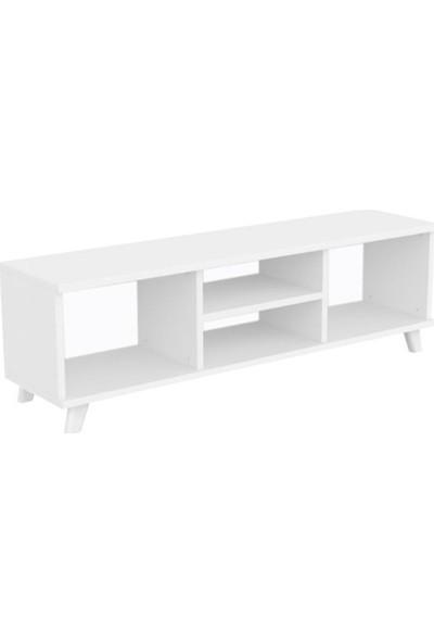 Mimilos Tu3 Kapaksız Raflı Dekoratif Tv Ünitesi Sehpası Beyaz