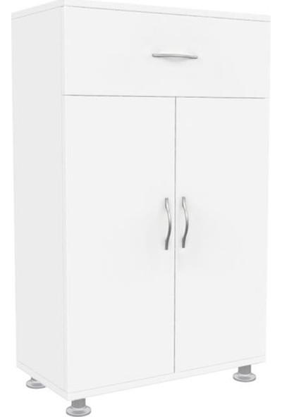 Mimilos D10 Çekmeceli 2 Kapaklı 2 Raflı Banyo Dolabı Beyaz