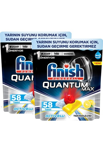 Quantum Max Limon X2 Bulaşık Makinesi Deterjanı 58 Kapsül