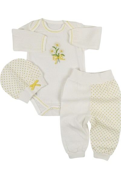 Pattic Baby Papatya Nakışlı 3lü Bebek Takım