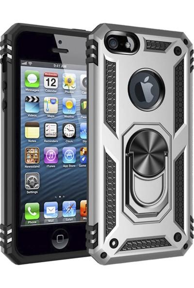Case Markt Apple iPhone 8 Standlı & Manyetik Yüzüklü Tam Koruma Tank – Zırh Telefon Kılıfı