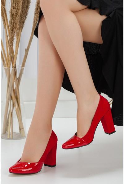 Pabucmarketi Kadın Kırmızı Topuklu Ayakkabı