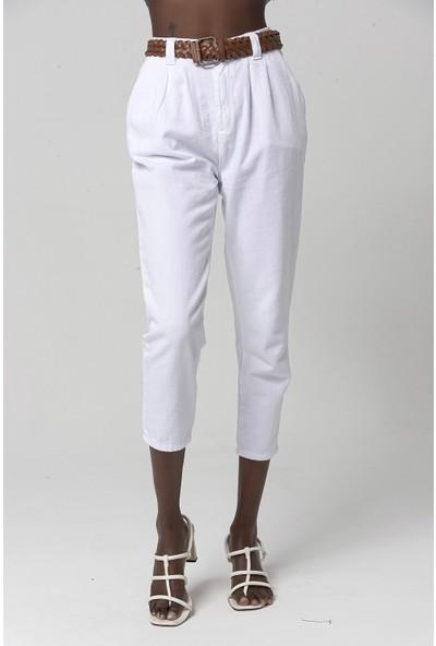 Coral 030410 Kısa Paça Kemerli Pantolon Beyaz