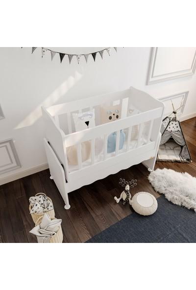 Akte Home Sallanır Anne Yanı Ahşap Bebek Beşiği - Beyaz