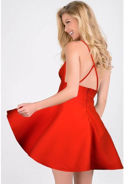 Ergü Likralı Saten Nar Çiçeği Kuşak Detaylı Çapraz Askılı Kiloş Kadın Elbise ERGÜ1494-2