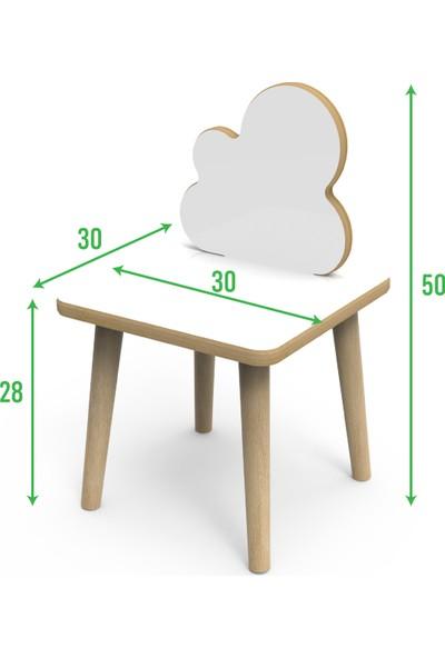 Treedi Art Yaz Sil Yüzeyli Bulut Çocuk Masa Sandalye Takımı + Saat + Boy Ölçer Seti