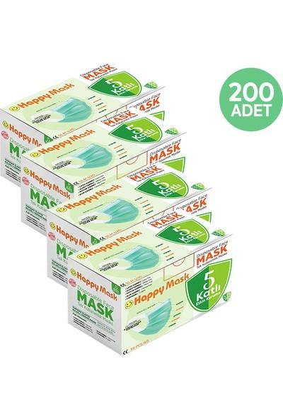 Happy Yumuşak Elastik Kulaklı 5 Katlı Telli Yeşil Cerrahi Maske 200 Lü
