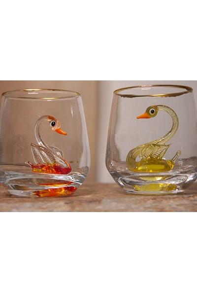 Adamodart Kuğu Figürlü Renkli Kahve Yanı Yaldızlı Su Bardağı 2'li Set