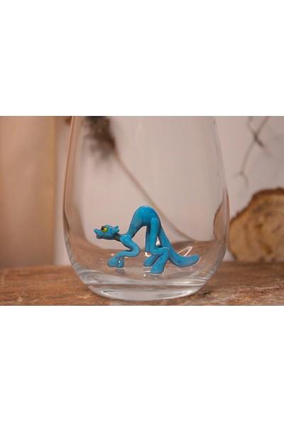Adamodart Mavi Kedi Figürlü Tekli Su Bardağı
