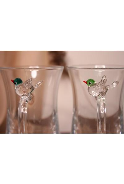 Adamodart Kuş Figürlü 2'li Çay Bardağı