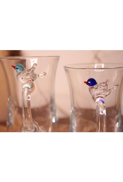 Adamodart Kuş Figürlü 2'li Çay Bardağı Seti