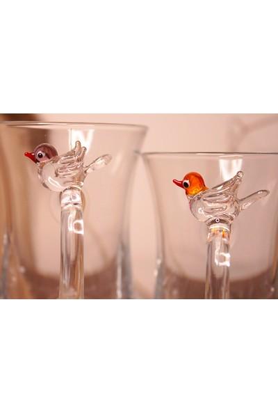 Adamodart Kuş Cam Figürlü 2'li Çay Bardağı