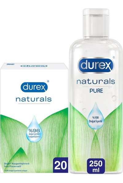 Durex Naturals Prezervatif Paket 20'li + Naturals Pure Jel 250 ml