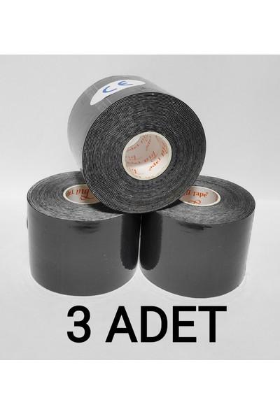BiaTape Bia Tape Kinesio Sporcu Bandı 5 cm x 5 Siyah 3'lü (Pakette 3 Adet) (