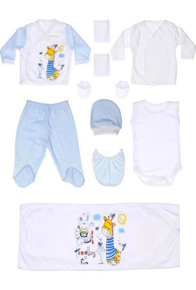 Petino Minikimaj Zürafa Baskılı Hastane Çıkış Seti 10'lu , Erkek Bebek Yeni Doğan Set , Onlu Bebek Zıbın Seti 0-3 Ay