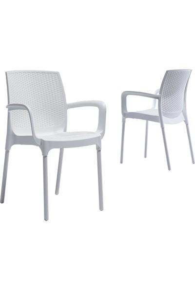 Novussi Sunset Rattan Koltuk Bahçe Balkon Sandalyesi Beyaz