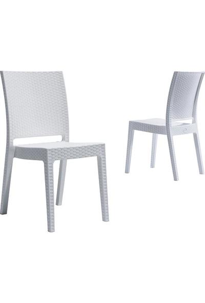 Novussi Nice Rattan Kolçaksız Bahçe Balkon Sandalyesi Beyaz