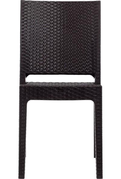 Novussi Nice Rattan Kolçaksız Bahçe Balkon Sandalyesi Kahverengi