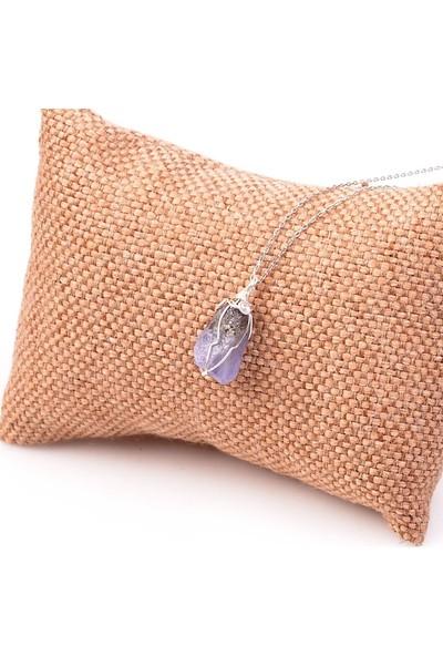 Taş Sandığı Ham Tanzanit Taşı Kolye - Gümüş Tel Sargılı