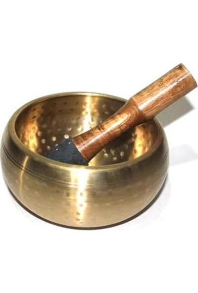Frame Pirinç Meditasyon Çanı Yoga Çanı Tibet Çanağı Singing Bowl 8 cm