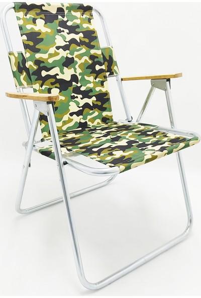 My Concept Katlanır Ahşap Kolçaklı Kamp Plaj Bahçe Sandalyesi 66