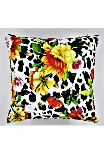 B&m Design Çiçek ve Dalmaçya Desenli Kırlent Kılıfı