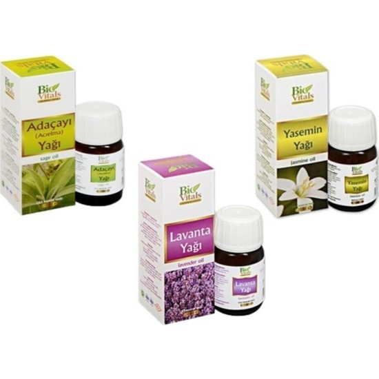 Bio Vitals Adaçayı - Lavanta - Yasemin Bitkisel Yağı
