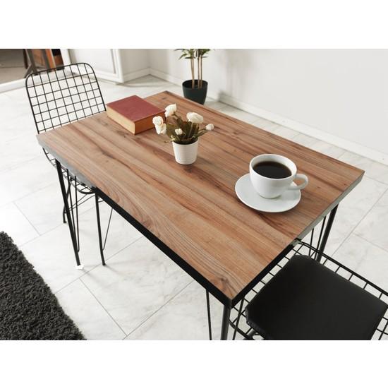 Yemek Masası Mutfak Salon Yemek Masası Ceviz Desenli 120X80 cm