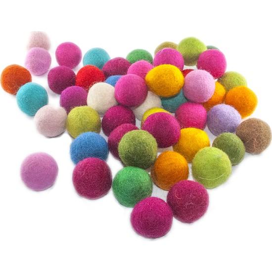 Toptan Keçe Keçe Renkli Yün Top 10 Adet, Keçeden Renkli Toplar