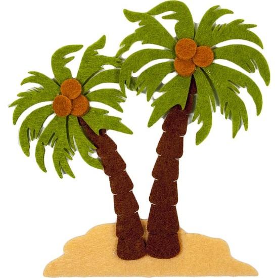 Toptan Keçe Keçe 14 cm Palmiye Ağaçları Süsü 3 Adet, Keçe Palmiye Figür, Hobi Keçe