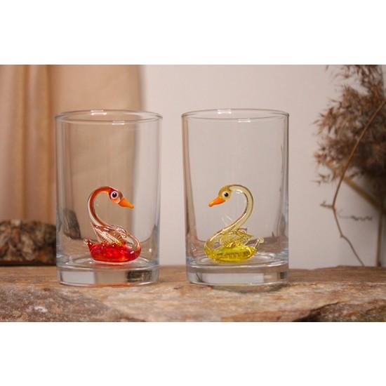 Adamodart Kuğu Figürlü Renkli Kahve Yanı 2'li Su Bardağı