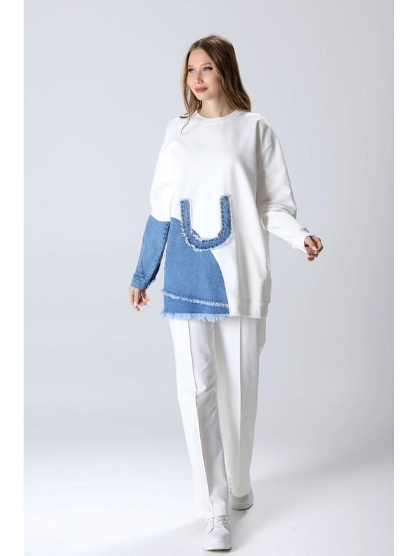 mibapazar Iki Iplik U Detaylı Sweatshirt
