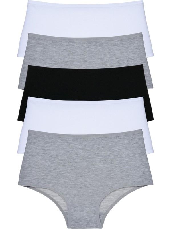 LadyMelex Kadın Gri Siyah Beyaz Yüksek Bel Külot 5'li Paket