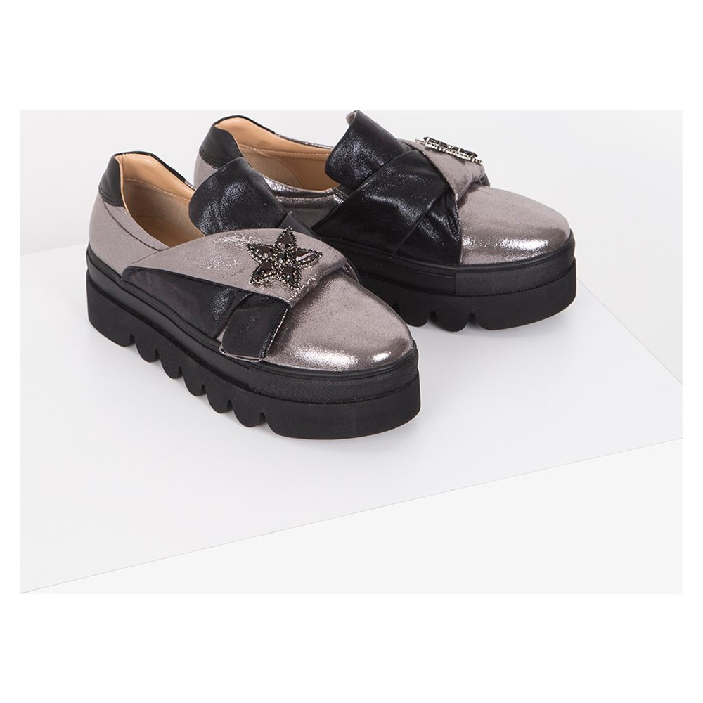 İlvi Litta V-114 Günlük Ayakkabı Gümüş Siyah