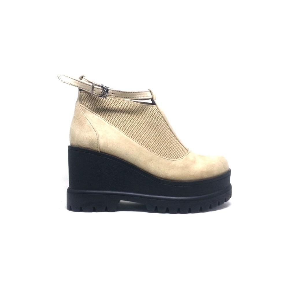 Shop And Shoes 173-12515 Bej Süet Bot Kadın Ayakkabı