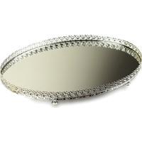 Aynalı Çikolatalık Sunum Tepsisi Oval Gümüş
