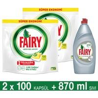 Fairy Hepsi Bir Arada Bulaşık Makinesi Deterjanı Kapsülü Limon Kokulu 100 Yıkama 2'li Paket + Platinum Sıvı Bulaşık Deterjanı Limon 870 ml