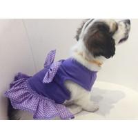 Dogi & Dog Mor Puantiyeli Köpek Elbisesi -Köpek Kiyafeti-Kedi Kiyafeti