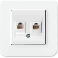 Günsan Radius Fildişi Beyazı İkili Nümeris Telefon Priz Cat3 Cat3 Açılı