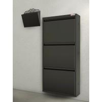 Pappuchbox Dz-1000 3'Lü Siyah Takım Metal Ayakkabılık