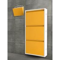 Pappuchbox Dz-1000 3'Lü Beyaz-Sarı Takım Metal Ayakkabılık