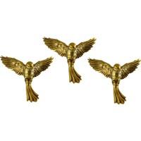 Uçan Kuş Duvar Süsü 3 lü Altın Renk