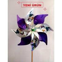 Polin Garden Rüzgargülü Hologramlı Kelebek Baskılı Çap: 30Cm ( Mor )