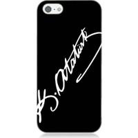 Teknomeg Apple iPhone 5 Atatürk İmzası Desenli Silikon Kılıf