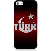 Teknomeg Apple iPhone 5S Türk Yazılı Bayrak Desenli Silikon Kılıf