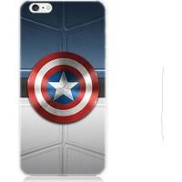 Teknomeg Apple iPhone 6 Plus Kaptan Amerika Logo Desenli Silikon Kılıf