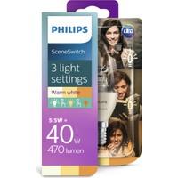 Philips Led Sceneswitch 40W - Tek Ampul 3 Işık Ayarı, E14 İnce Duy