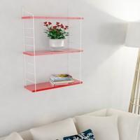 Decormet Armoni Raf ve Kitaplık Seti 3 Raflı 200X720 Beyaz -Parlak Kırmızı